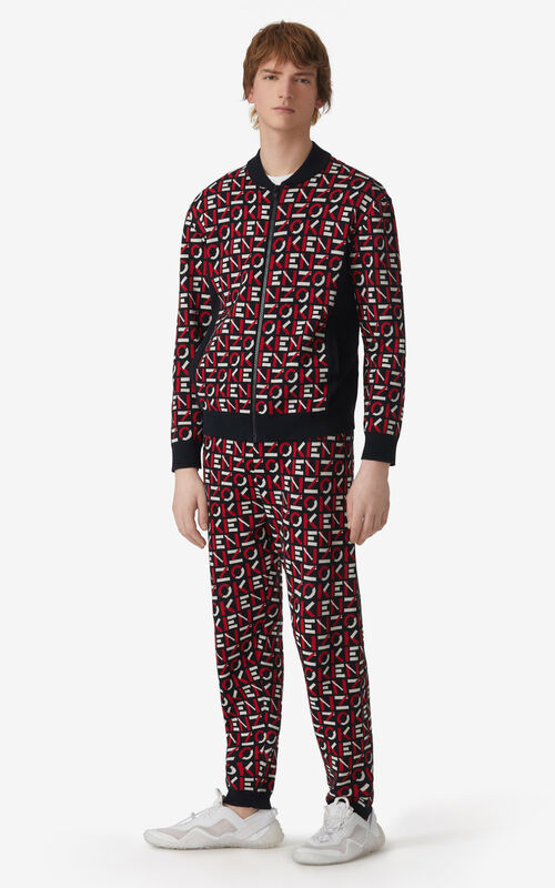 MEDIUM RED KENZO Sport monogram jacquard trousers for men