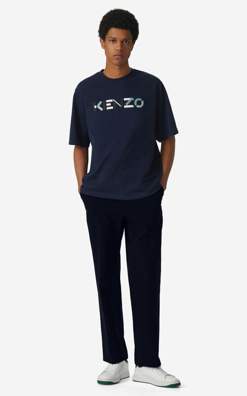 NAVY BLUE Oversized KENZO Logo t-shirt for men