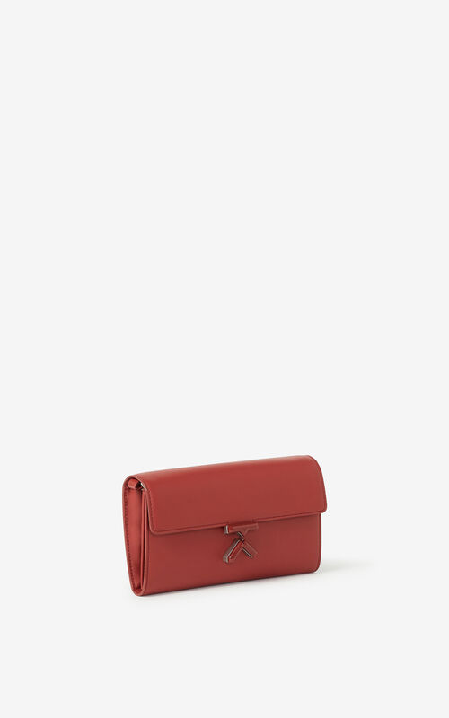 MOROCCAN BROWN KENZO K leather wallet on a chain for unisex