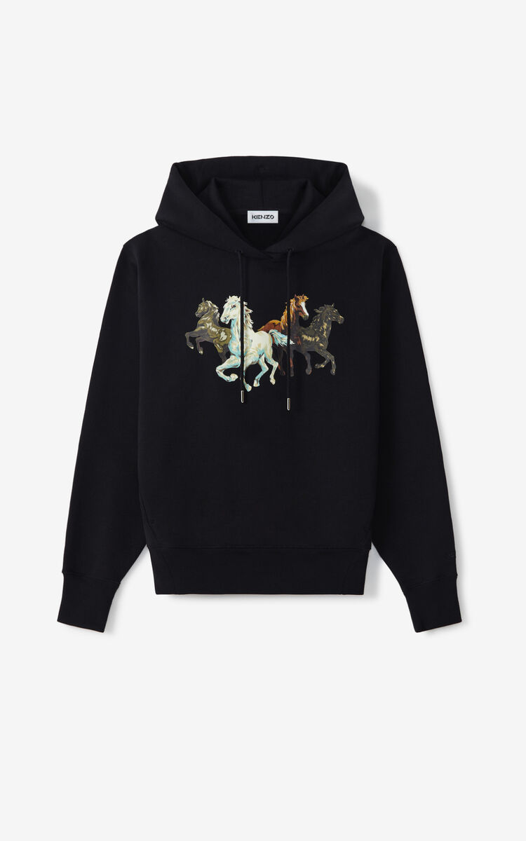 BLACK 'KENZO Chevaux' hoodie sweatshirt for women