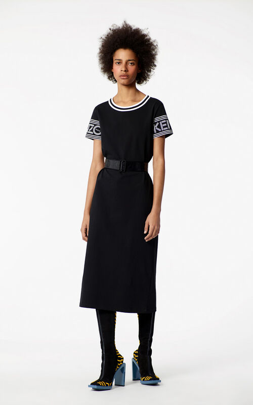 BLACK KENZO Logo Midi Dress for women