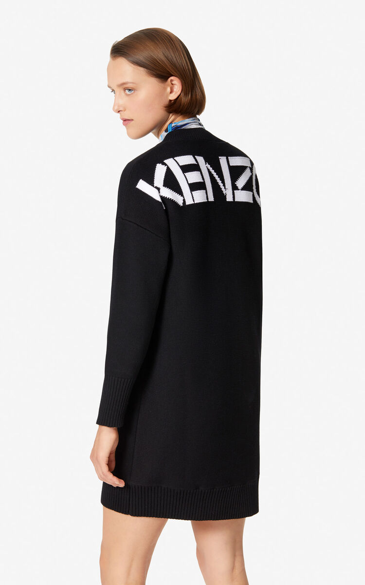 BLACK KENZO Logo jumper dress for women