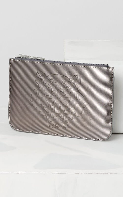 DARK GREY A5 Metallic Tiger Clutch for unisex KENZO