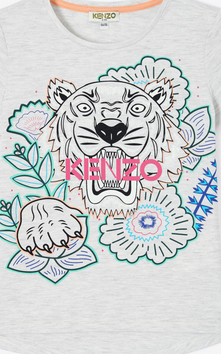 PALE GREY 'Disco Jungle' Tiger T-shirt for women KENZO