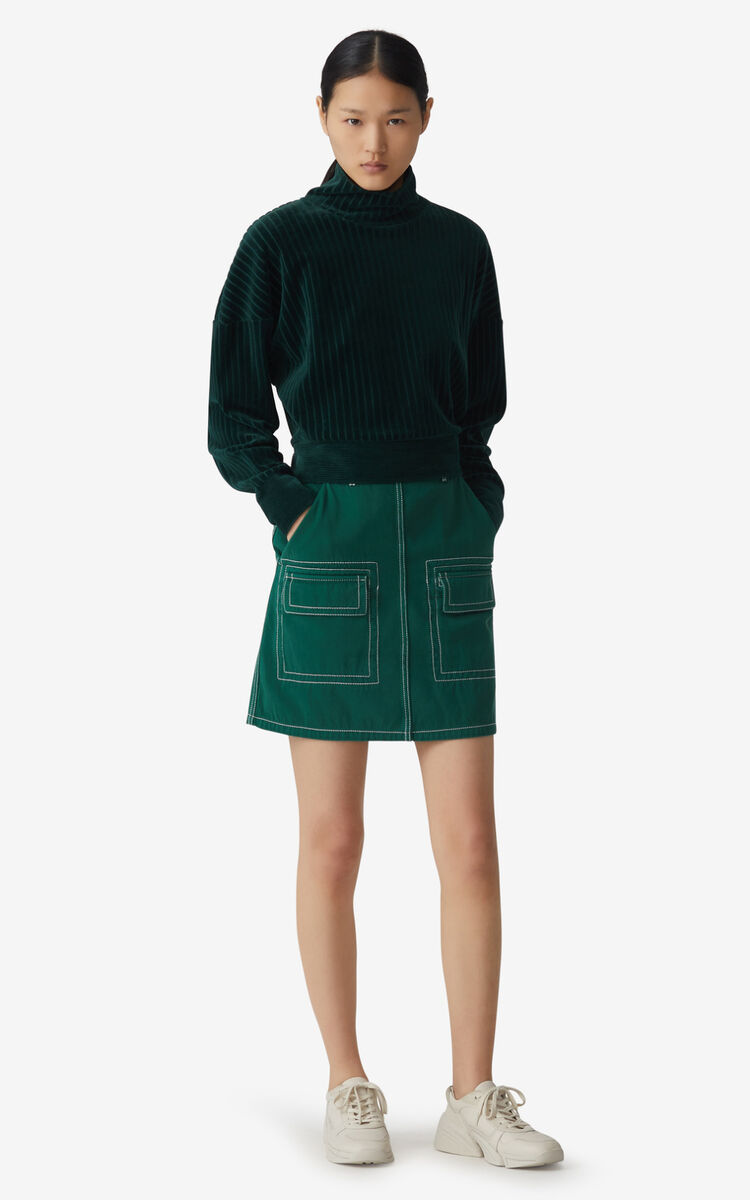 BOTTLE GREEN Short straight skirt for women KENZO