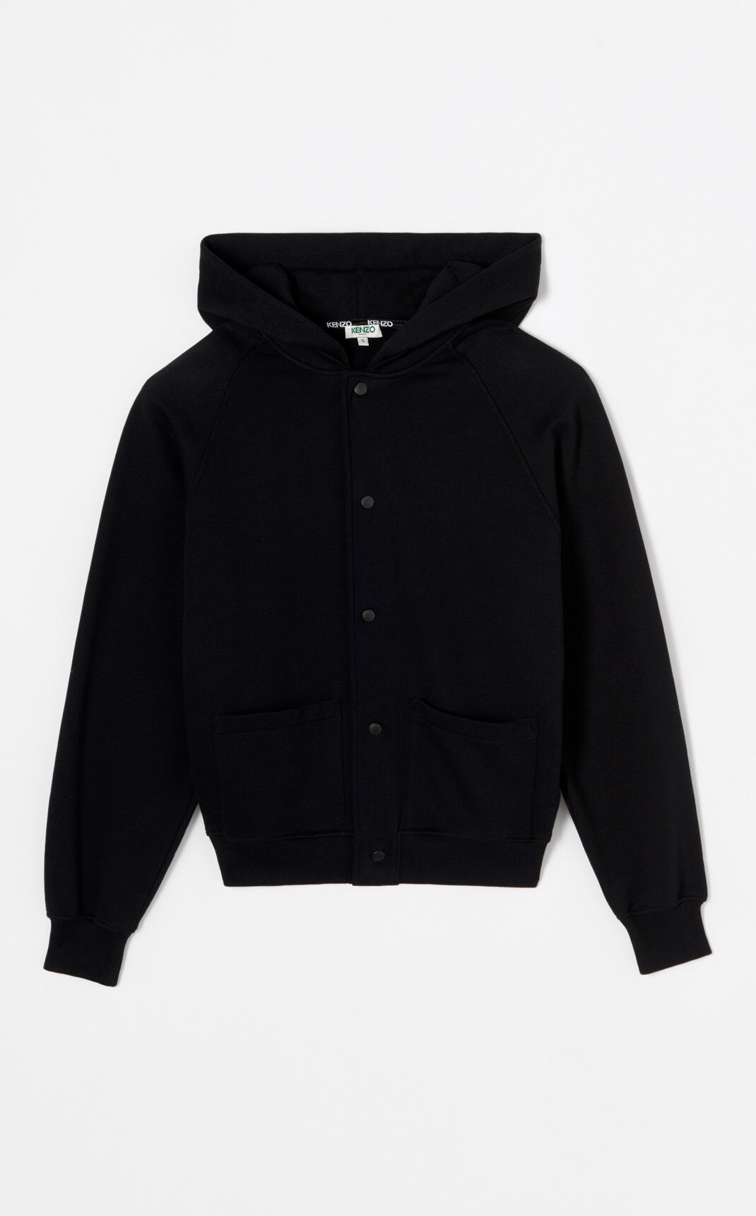 BLACK Hooded jacket with KENZO Logo for women