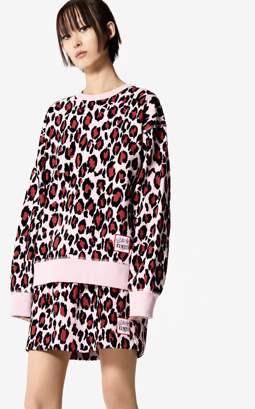 PASTEL PINK 'Leopard' sweatshirt for women KENZO
