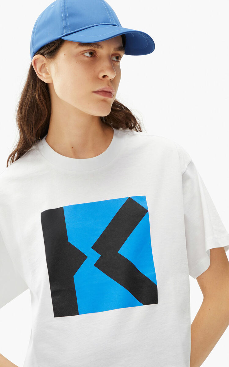 WHITE KENZO Sport 'Blocked K' boxy t-shirt for women