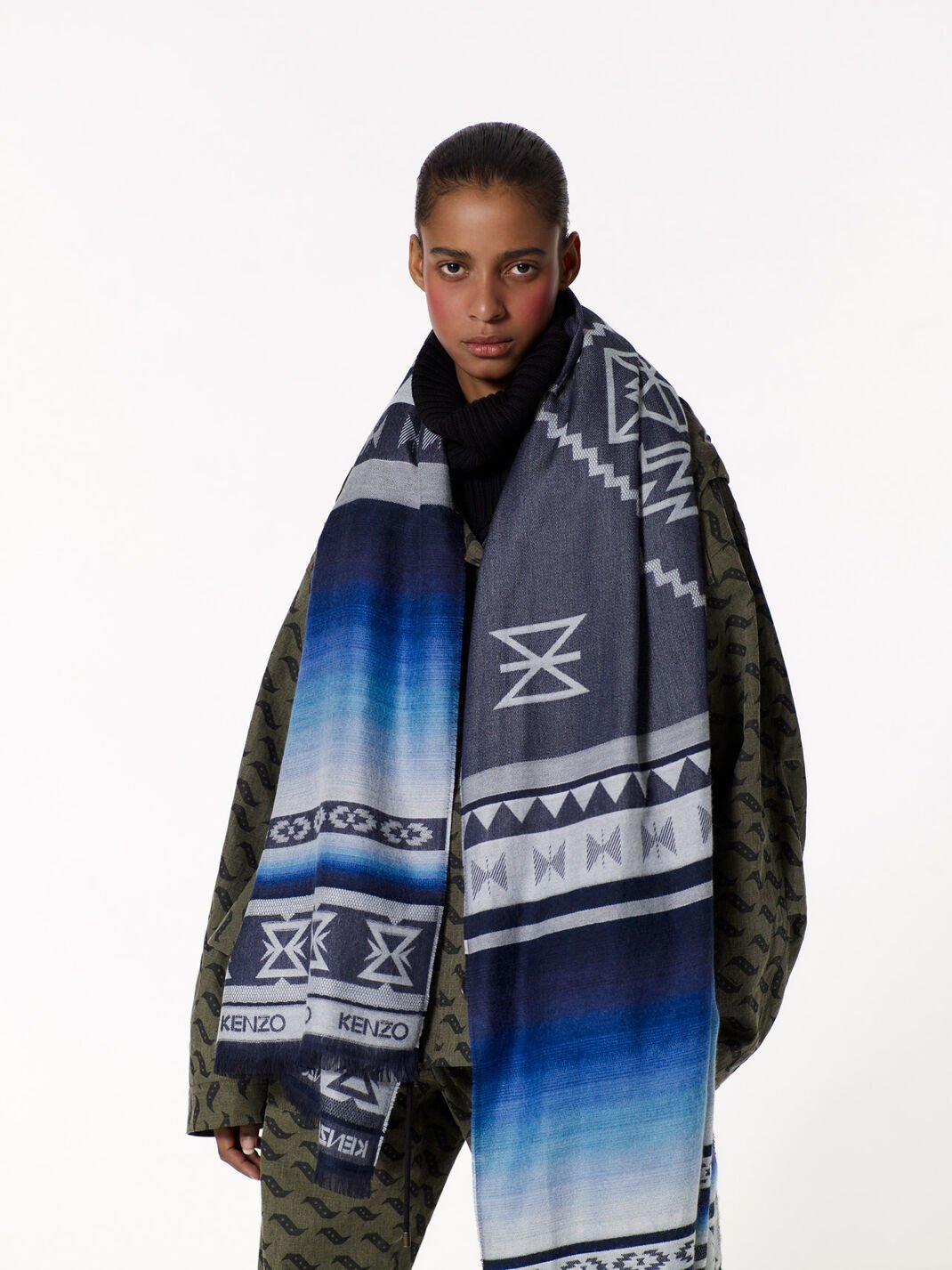 Silk and Viscose Scarf Tiger Wool, Silk and Viscose Scarf for unisex KENZO