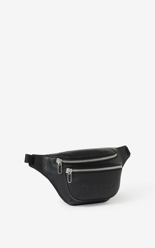 BLACK KENZO Imprint grained leather bumbag for men
