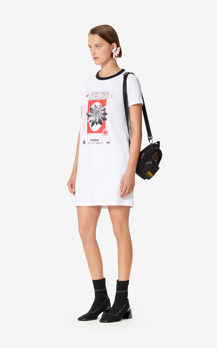 WHITE 'Rice Bags' T-shirt dress for women KENZO