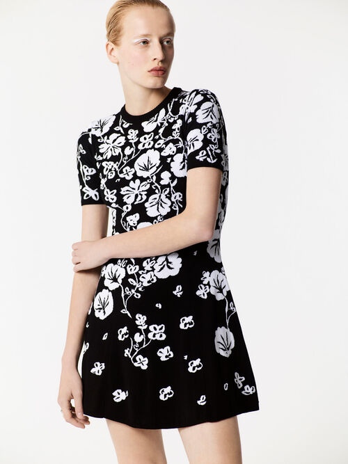 Floral Leaf  Skater dress, BLACK, KENZO