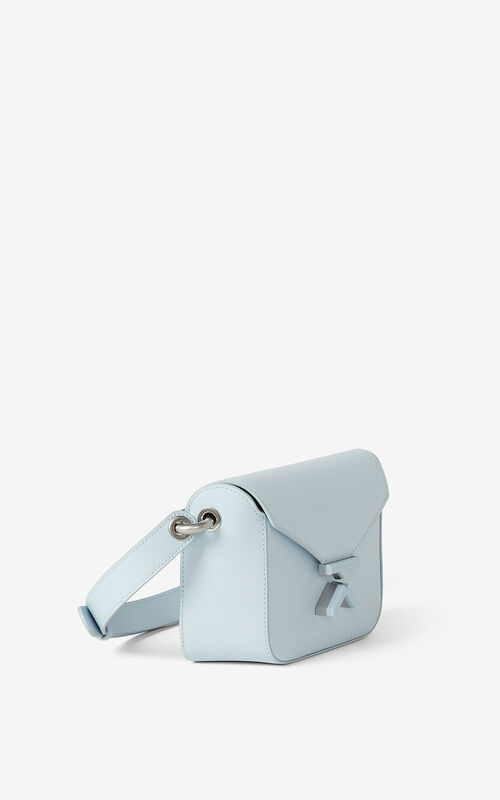 LIGHT BLUE KENZO K small leather crossbody bag for unisex