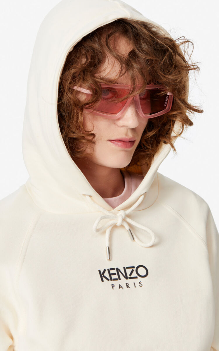 ECRU KENZO Paris hooded sweatshirt for women