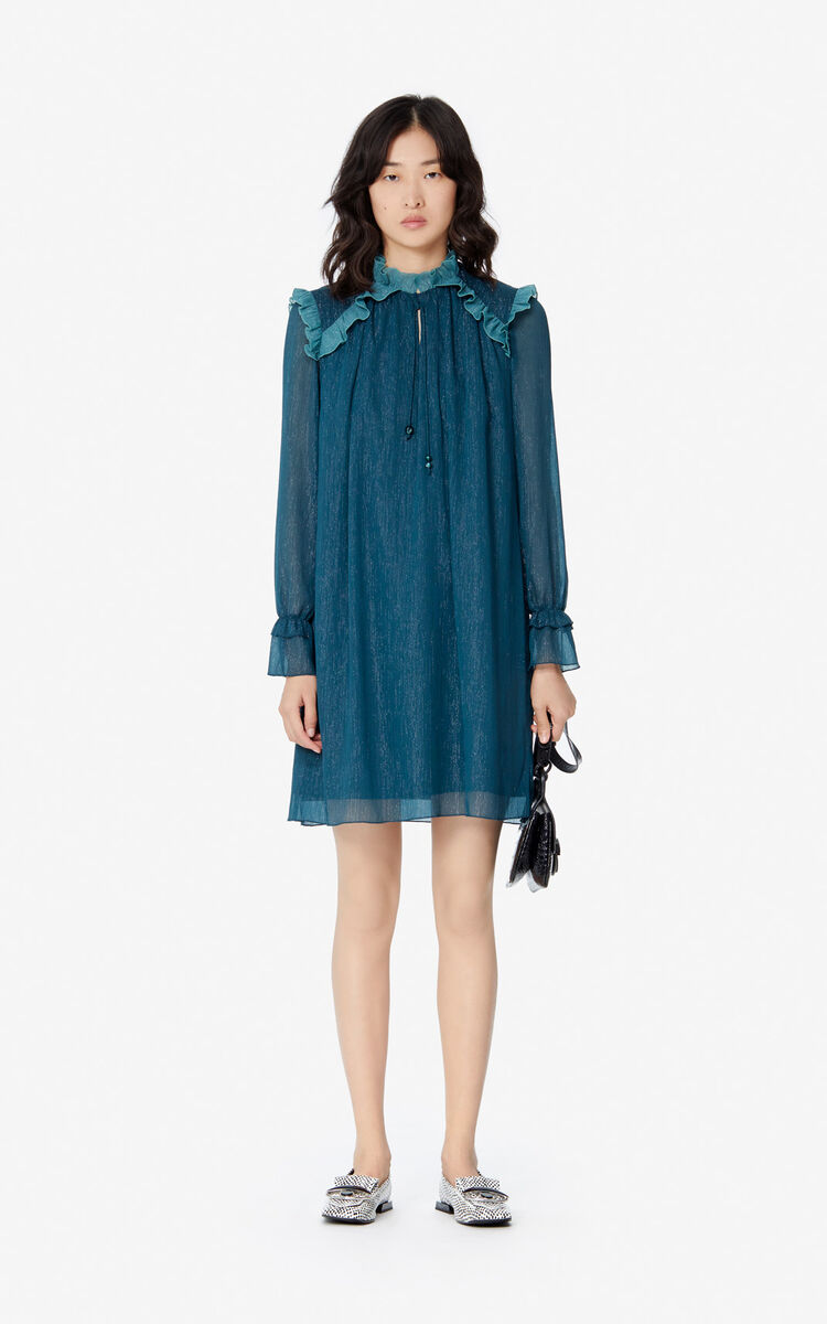 DUCK BLUE 'Holiday Capsule' frilled dress for women KENZO