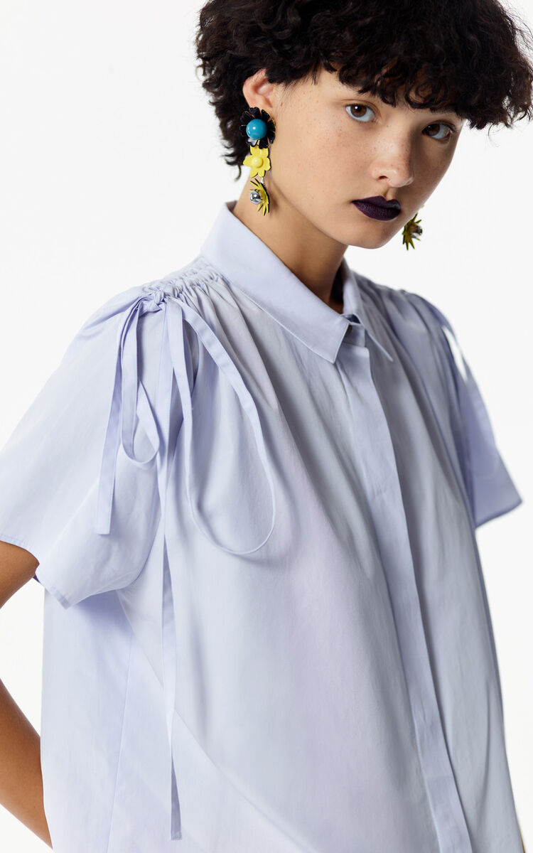 LIGHT BLUE Blouse with pleated shoulders for women KENZO