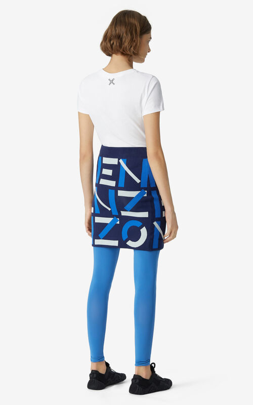 MIDNIGHT BLUE KENZO Sport jacquard monogram mini skirt for women
