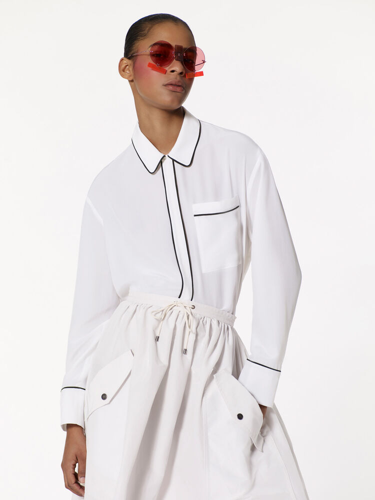 WHITE Silk Pajama Shirt  for women KENZO