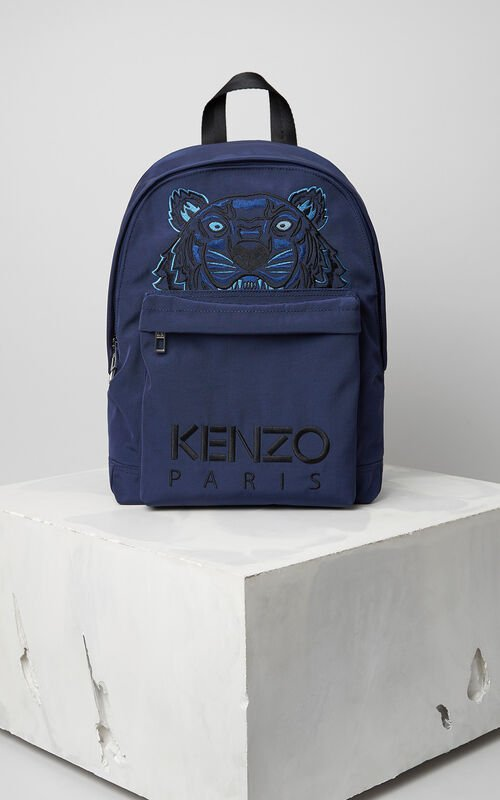 NAVY BLUE Large Tiger Canvas Backpack for men KENZO