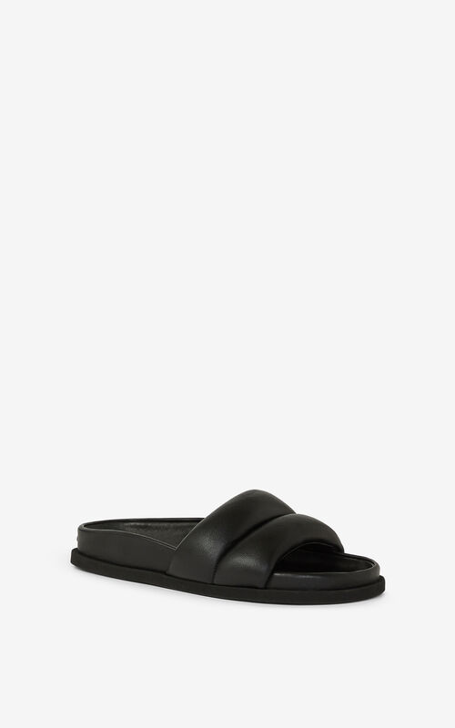 BLACK Leather Komfy mules for women KENZO