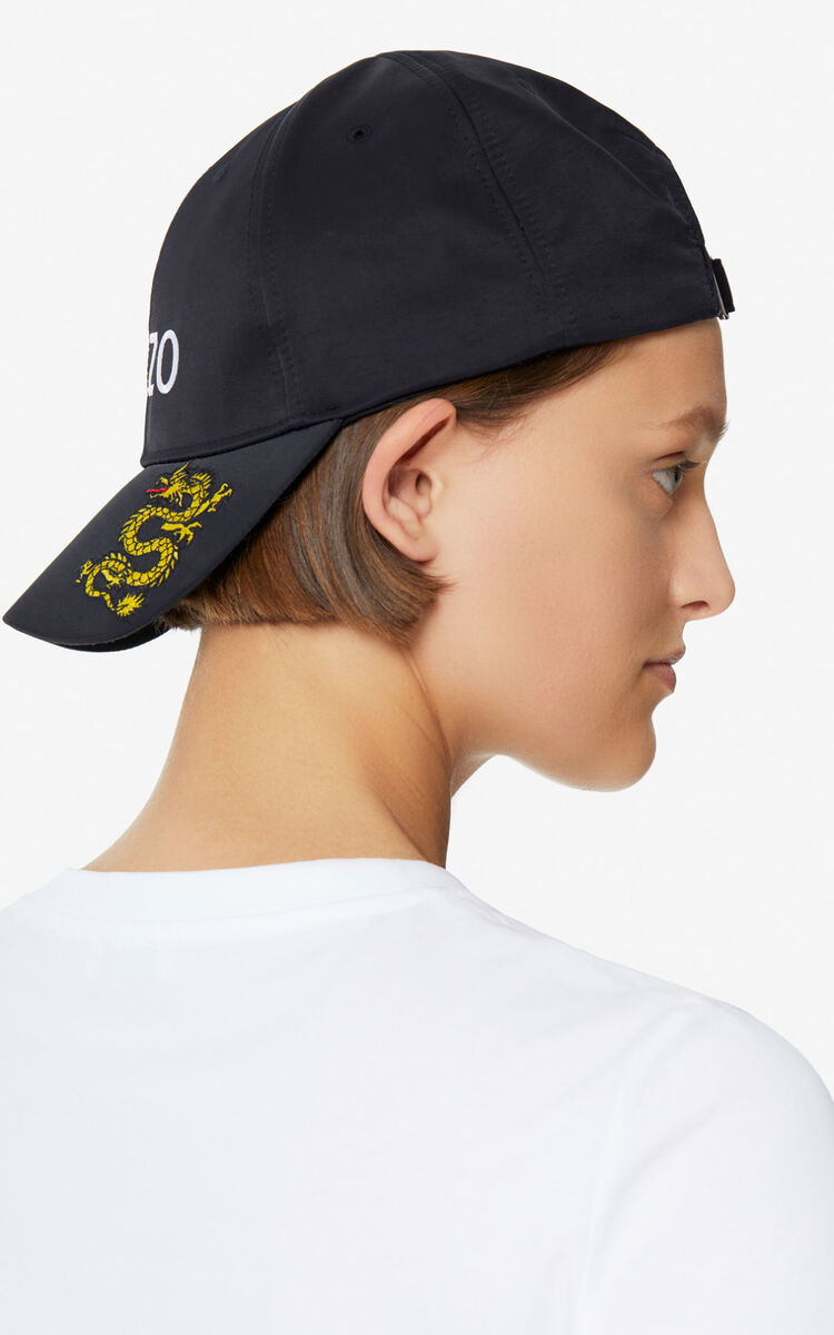 BLACK 'Dragon' cap for unisex KENZO