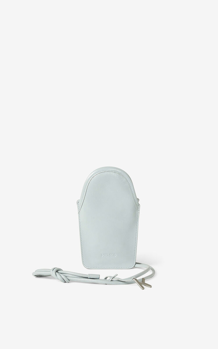 PALE GREY KENZO Onda leather phone pouch with strap for unisex