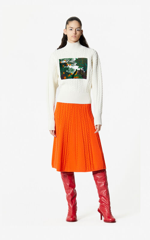 MEDIUM ORANGE Knit midi skirt for women KENZO