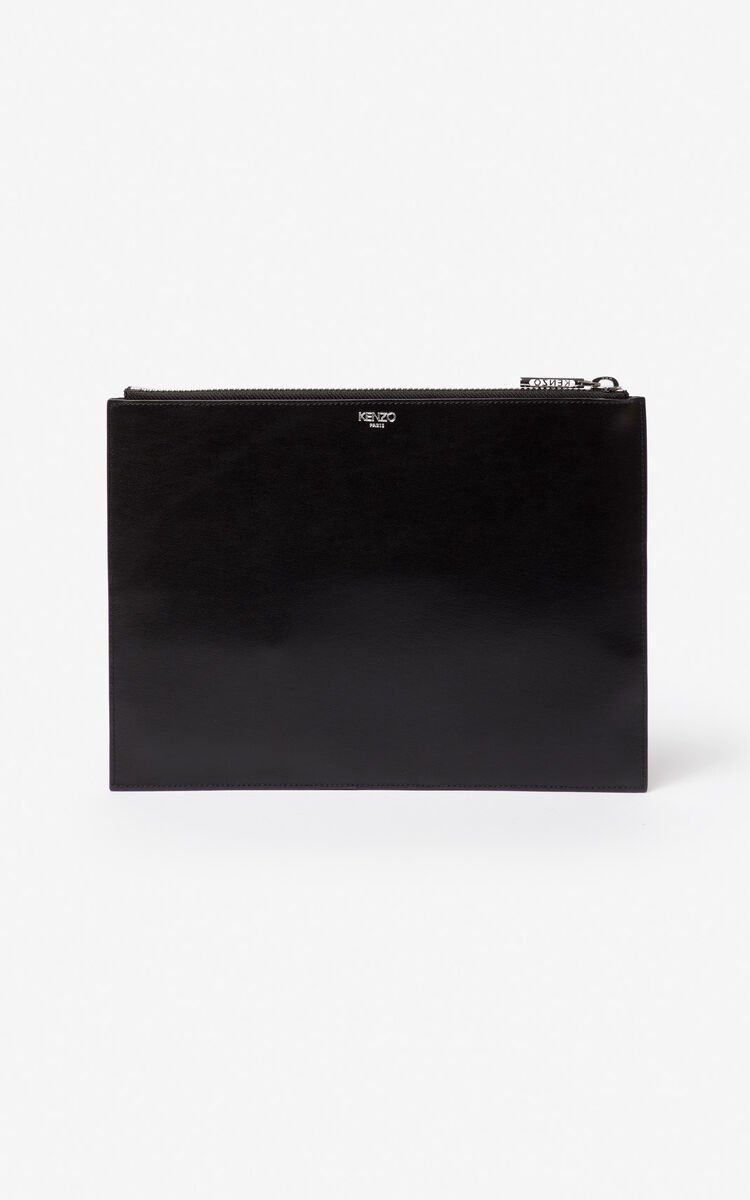 BLACK A4 Eye leather clutch for unisex KENZO