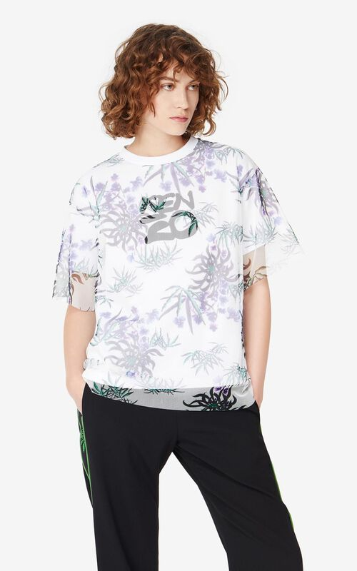 WHITE 'Sea Lily' dual-material T-shirt for women KENZO