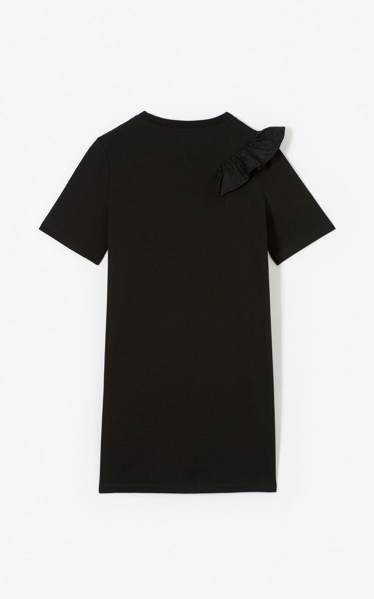 BLACK Tiger ruffle dress for women KENZO