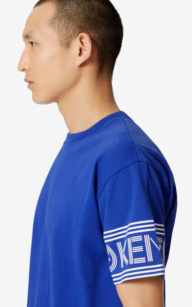 SLATE BLUE KENZO Logo T-shirt for men