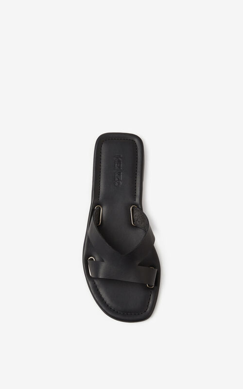 BLACK OPANKA flat leather mules for unisex KENZO