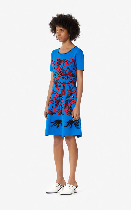 83f01e4caf ... FRENCH BLUE  Jacquard  Flying Phoenix  dress for women KENZO.
