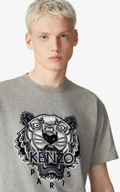 PEARL GREY Loose embroidered Tiger t-shirt for men KENZO