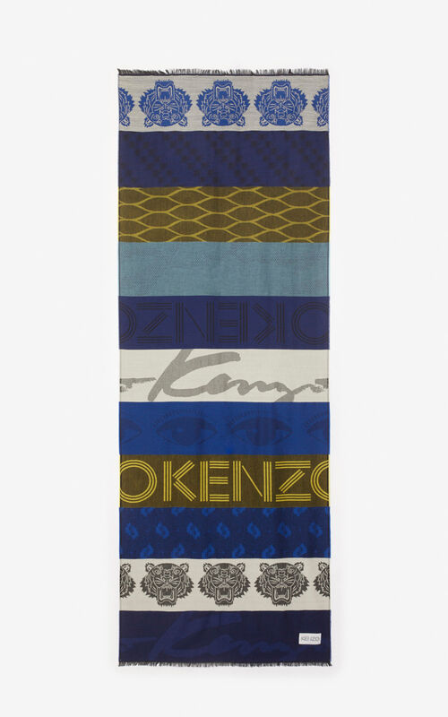 NAVY BLUE Multi Icons scarf for women KENZO