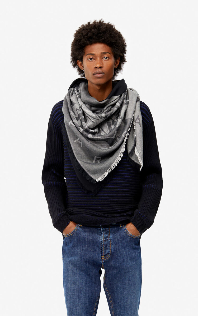 ANTHRACITE Large two-tone Tiger scarf for unisex KENZO