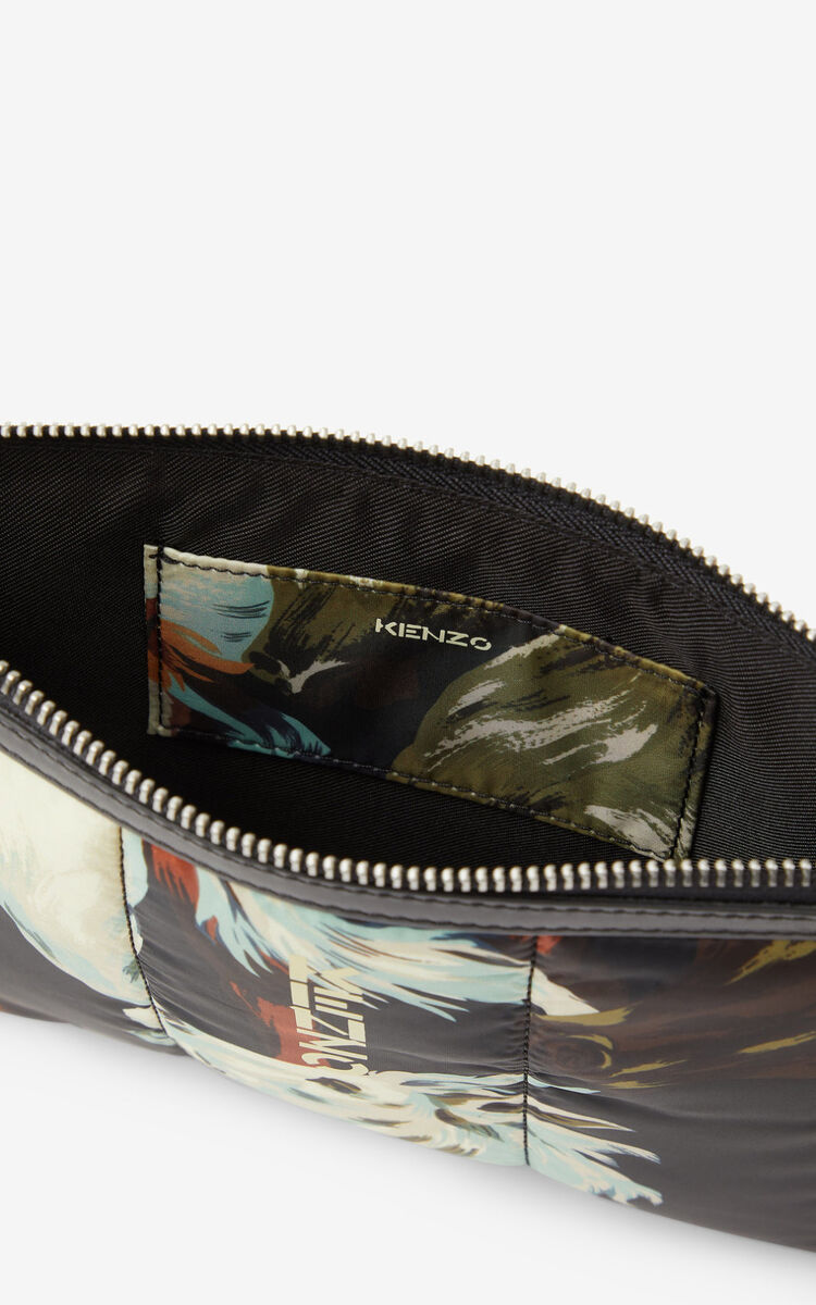 BLACK KENZOMANIA 'Chevaux KENZO' large clutch for unisex