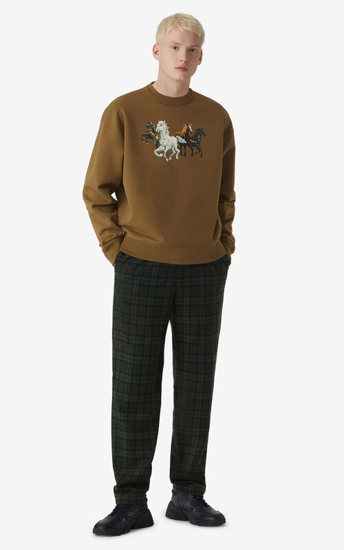 KHAKI 'Chevaux KENZO' sweatshirt for men