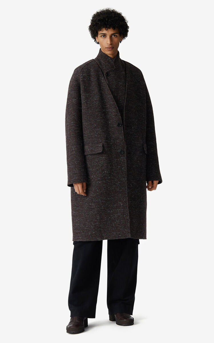 DARK BROWN Reversible wool coat for men KENZO