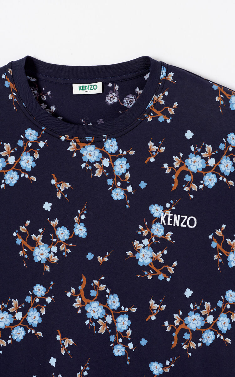 NAVY BLUE 'Cheongsam Flower' t-shirt for women KENZO