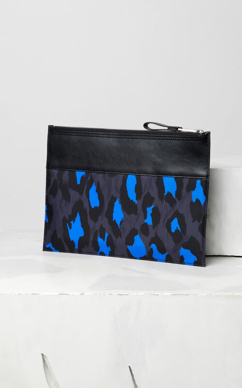 BLACK Leopard A4 clutch for unisex KENZO