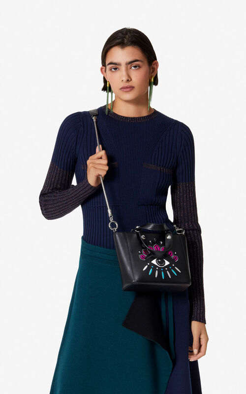 BLACK Small Eye leather tote bag for women KENZO