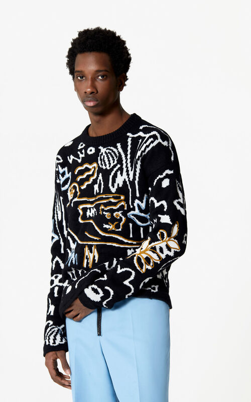 BLACK Sketch jumper for men KENZO