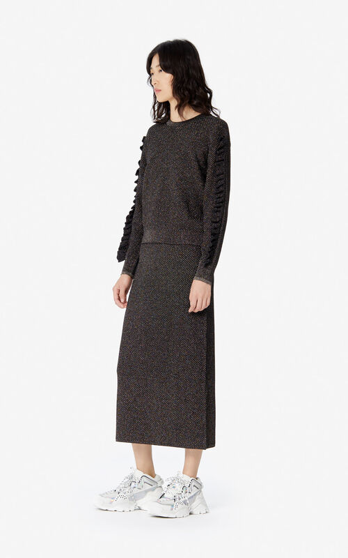 BLACK 'Holiday Capsule' glitter midi skirt for women KENZO