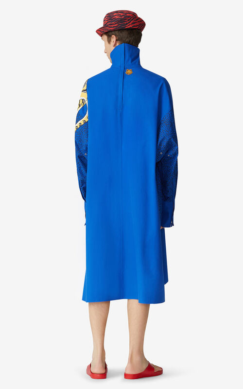 ROYAL BLUE KENZO x KANSAIYAMAMOTO long overshirt for men