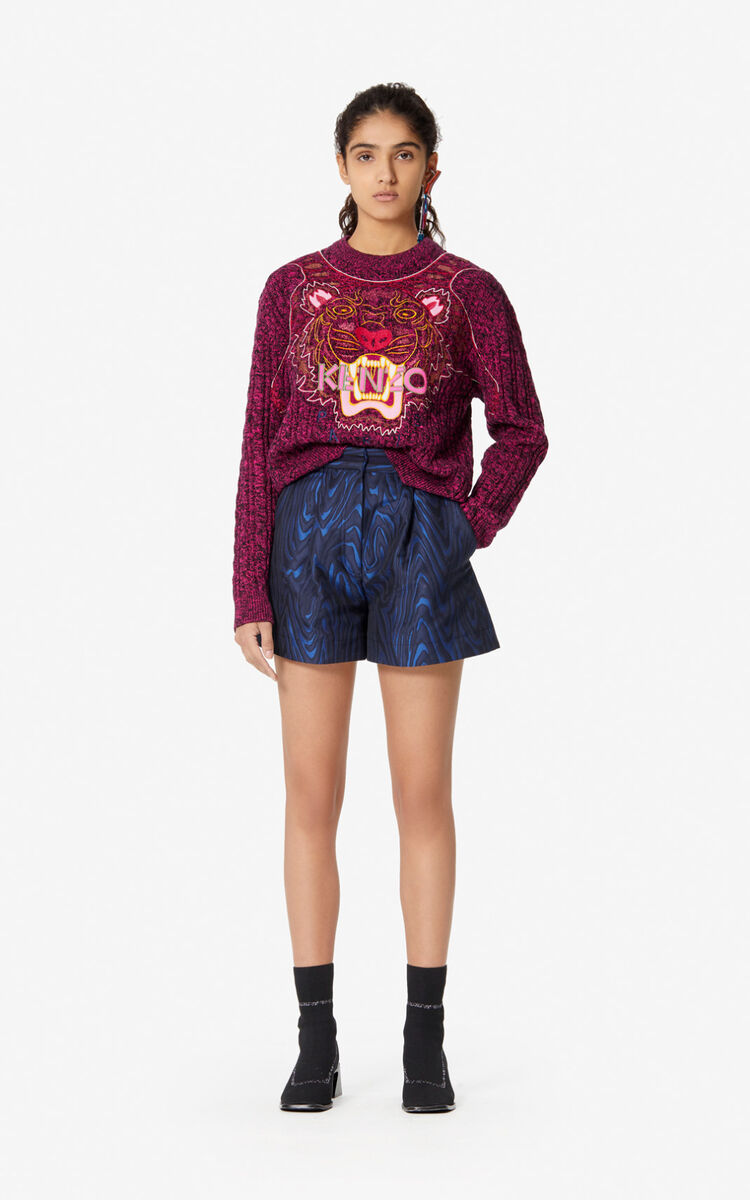 NAVY BLUE High-waisted 'Moire Tiger' shorts  for women KENZO
