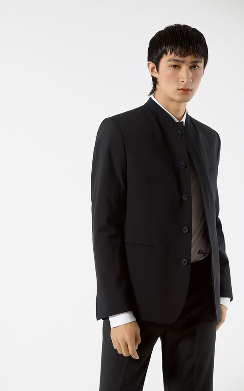 BLACK High-collar jacket for men KENZO