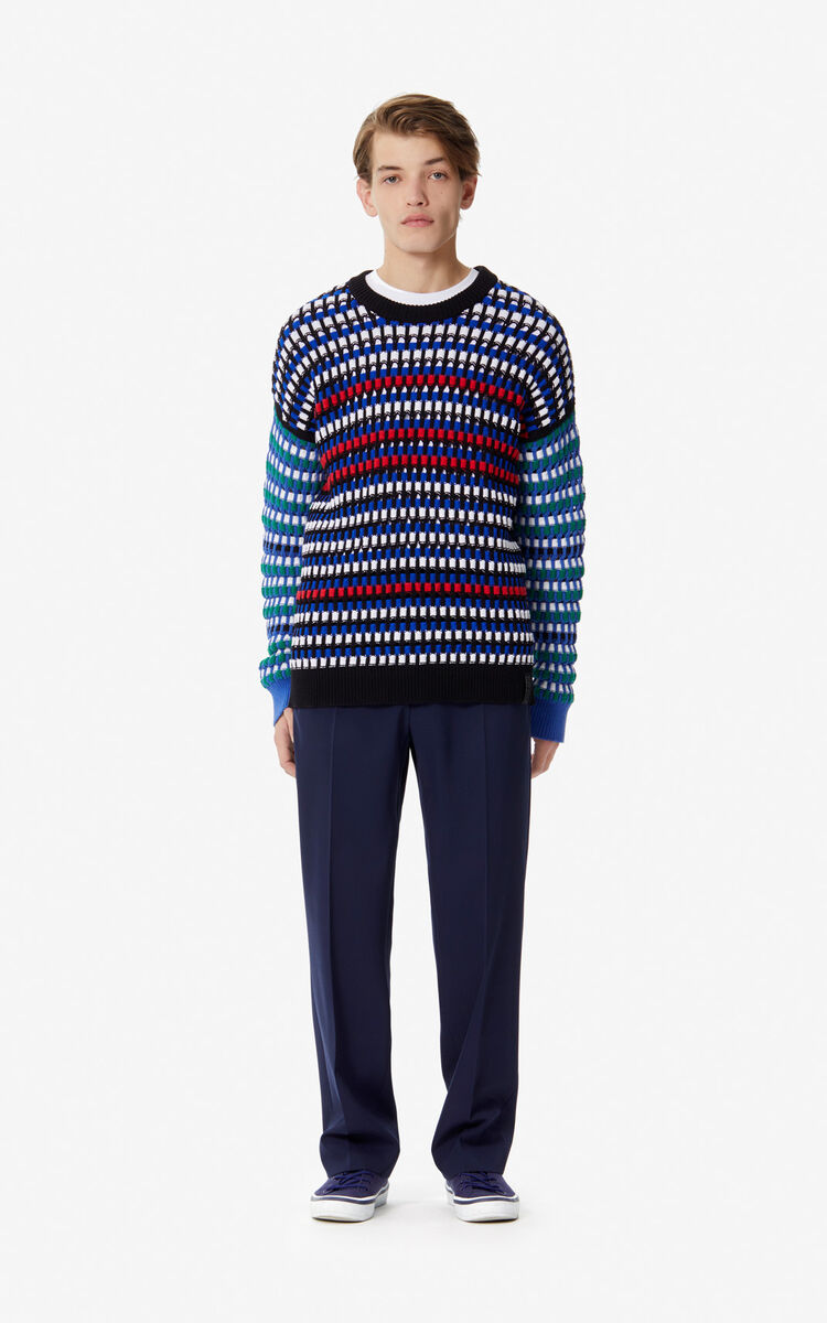 FRENCH BLUE Multi-coloured openwork jumper for women KENZO
