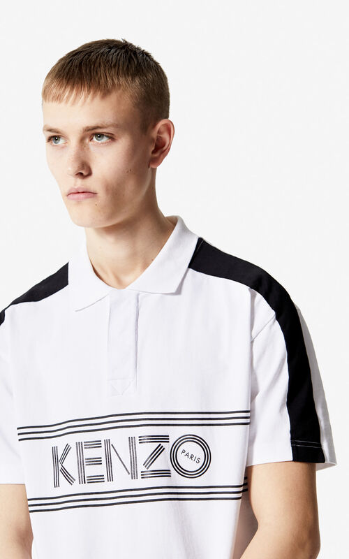 WHITE KENZO Logo regular fit polo shirt for men