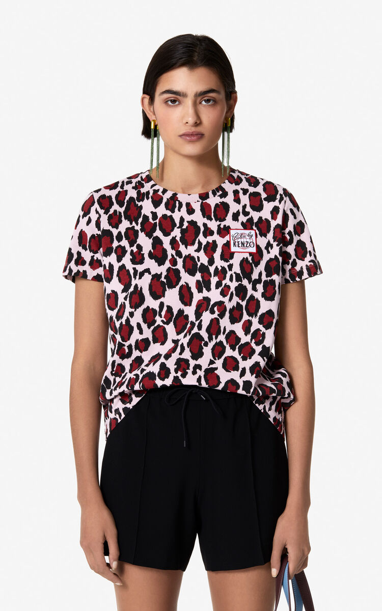 PASTEL PINK 'Leopard' t-shirt for women KENZO